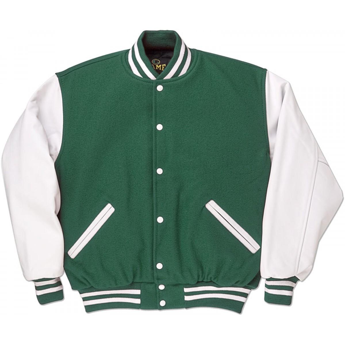 Green & White Standard Letterman Jacket - Standard Jackets ...
