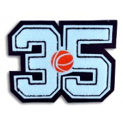 Double Felt Number Patch with Large Embroidered Sport Insert