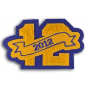 Double Felt Number Patch with Embroidered Banner