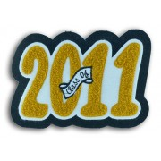 """Single Felt Rounded Block 4 Digit Number with Embroidered """"Class Of"""" Insert"""